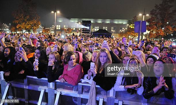 General view of crowds watching the switching on of the Christmas lights at Bluewater Shopping Centre on November 16 2012 in Greenhithe England