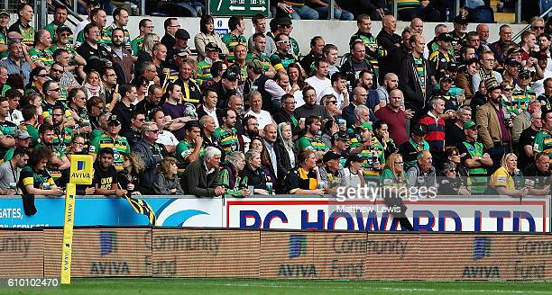 A general view of crrowd during the Aviva Premiership match between Northampton Saints and Wasps at Franklin's Gardens on September 24 2016 in...