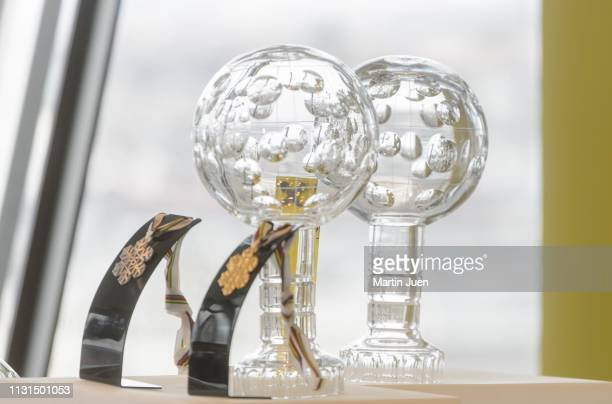 General view of crystal globes and medals at the press conference at Raiffeisen Bank International with Austrian skier Marcel Hirscher on March 19,...