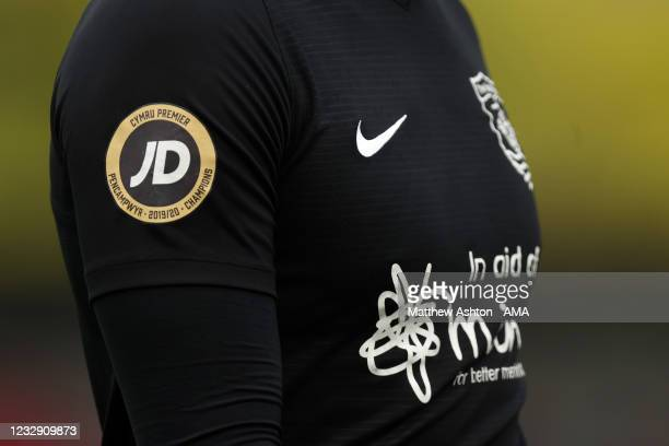 General view of Cymru Welsh Premier League logo celebrating Connah's Quay Nomads being champions in the 2019-2020 season during the Cymru Welsh...