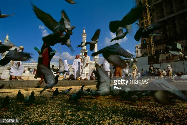 General view of daily life outside the Masjid AlHaram mosque location of the Kaaba Islam's most sacred sanctuary and pilgrimage shrine March 2000 in...
