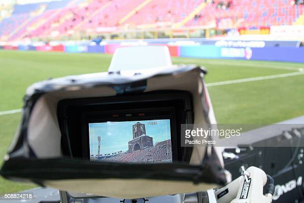 General view of Dall'Ara Stadium from camera screen TV during the Italian Serie A football match between Bologna FC v ACF Fiorentina .