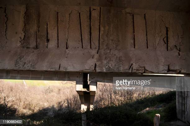 A general view of damage caused to the Morandi bridge in Vietri of Potenza on November 28 2019 in Potenza Italy The bridge was built by the engineer...