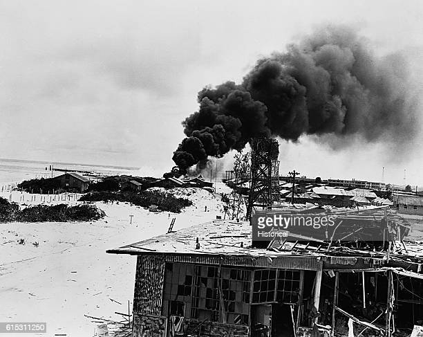 General view of damage on Midway before Japanese raiders were repelled June 46 1942 | Location Midway Island Central Pacific