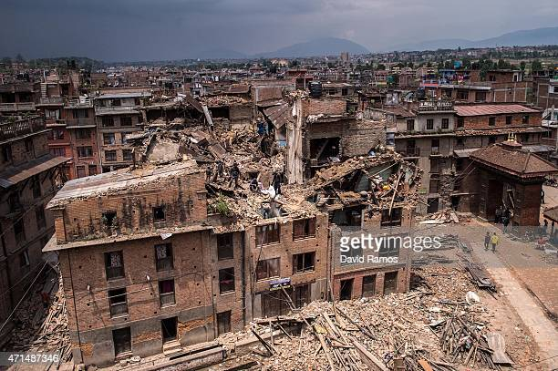 General view of damaged buildings as Nepalese victims of the earthquake search for their belongings on April 29, 2015 in Bhaktapur, Nepal. A major...