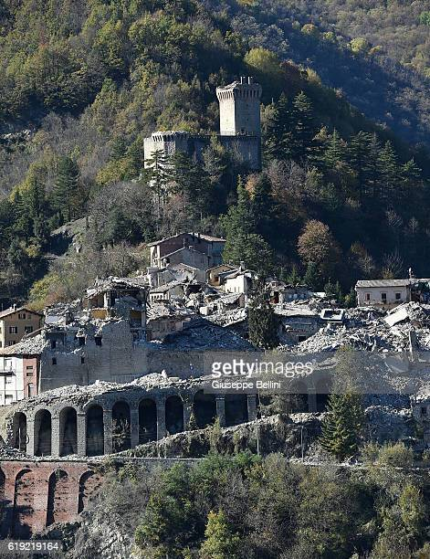 General view of damaged buildings in Arquata del Tronto following a massive earthquake this morning on October 30, 2016 in Perugia, Italy. A 7.1...