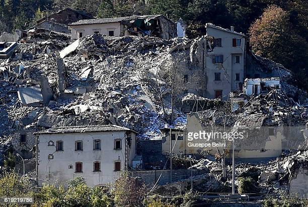 A general view of damaged buildings in Arquata del Tronto following a massive earthquake this morning on October 30 2016 in Perugia Italy A 71...