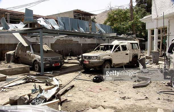 General view of damaged vehicles at the site of a suicide attack inside The Indian Embassy in Kabul on July 7 2008 A suicide bomber rammed an...