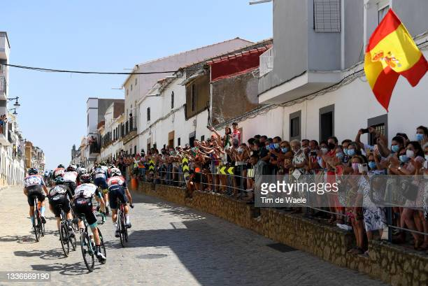 General view of Damiano Caruso of Italy and Team Bahrain Victorious polka dot mountain jersey, Chris Hamilton of Australia and Team DSM, Nicholas...