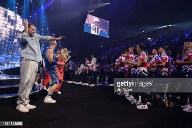 General view of dancers as Nile Rodgers performs on stage during The National Lottery's Team GB homecoming event at the SSE Arena Wembley on August...
