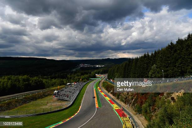 General view of Daniel Ricciardo of Australia driving the Aston Martin Red Bull Racing RB14 TAG Heuer on track during qualifying for the Formula One...