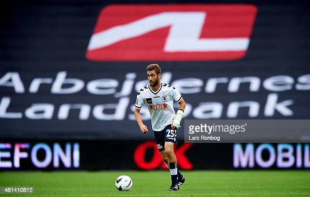General view of DanielAdrian Lopez of AGF Aarhus controlling the ball during the Danish Alka Superliga match between AGF Aarhus and Brondby IF at...