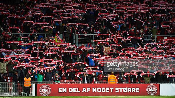 General view of danish fans with scarfs prior to the FIFA 2018 World Cup Qualifier match between Denmark and Kazakhstan at Telia Parken Stadium on...