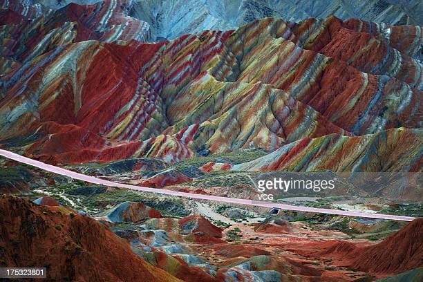 General view of Danxia Landform at Nantaizi village of Nijiaying town on September 22, 2012 in Zhangye, Gansu Province of China. Six Danxia landform...