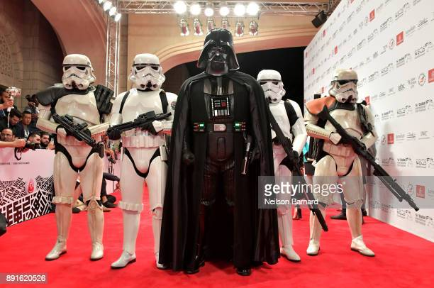 A general view of Darth Vader and Stormtoopers at the Star Wars The Last Jedi Closing Night red carpet on day eight of the 14th annual Dubai...