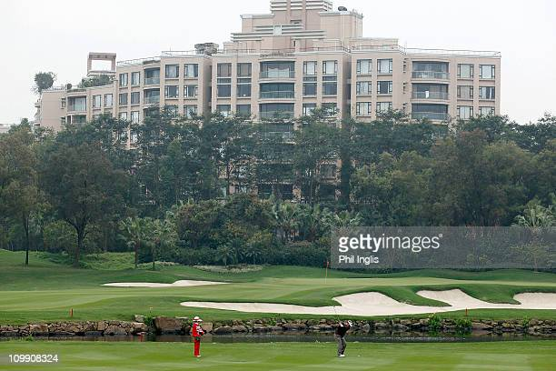 A general view of David Merriman of Australia competing in the ProAm for the ISPS Handa Senior World Championship presented by Mission Hills and...