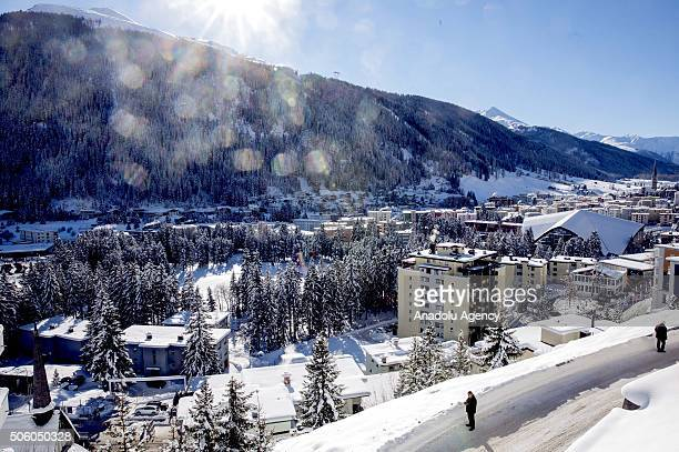 A general view of Davos as the World Economic Forum continues at the Congress Hall in Davos Switzerland on January 21 2016