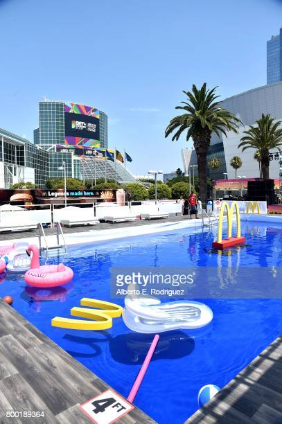 General view of day one of the Pool Groove, sponsored by McDonald's, during the 2017 BET Experience at Gilbert Lindsey Plaza on June 23, 2017 in Los...