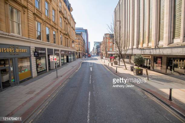 General view of Deansgate in central Manchester on March 25 2020 in Manchester United Kingdom British Prime Minister Boris Johnson announced strict...
