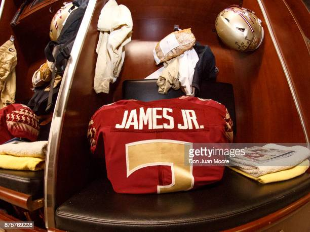 A general view of Defensive Back Derwin James locker before the game with the Florida State Seminoles hosting the Delaware State Hornets at Doak...