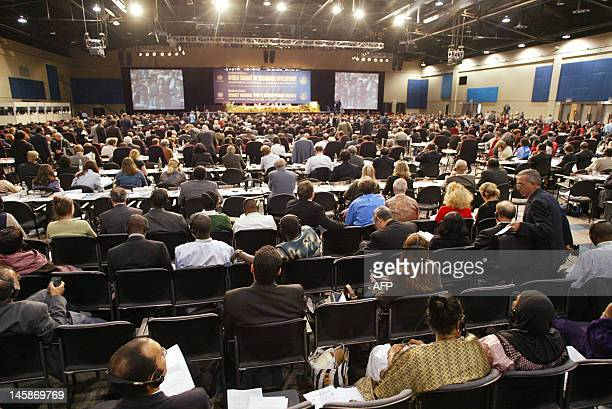 A general view of delegates attending 04 September 2002 the closing session of the World Summit on Sustainable Development in Johannesburg More than...