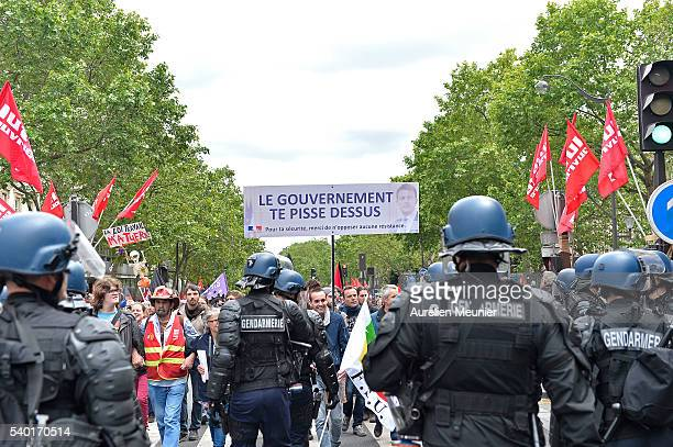 A general view of demonstrators during an antilabour refom law demonstration on June 14 2016 in Paris France According to the police department...