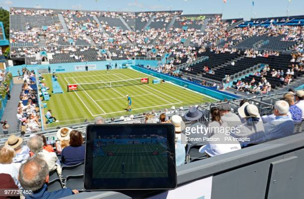 A general view of Denis Shapovalov v Gilles Muller viewed on Amazon Prime on an Ipad during day one of the FeverTree Championship at the Queens Club...
