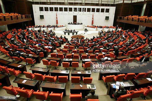 A general view of deputing attending a debate at parliament in Ankara on February 16 2012 Turkey's parliament early on February 17 passed a...
