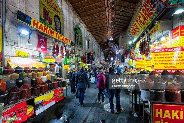 general view of dergah closed market with shopping crowds in sanliurfa. - emreturanphoto stock pictures, royalty-free photos & images
