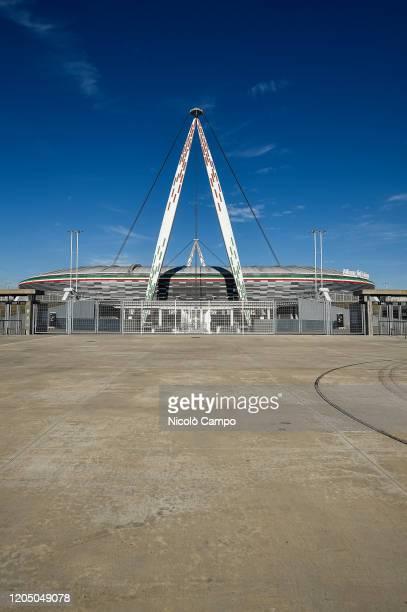 General view of desert Allianz Stadium . The Italian Cup semifinal second leg football match between Juventus FC and AC Milan scheduled for...