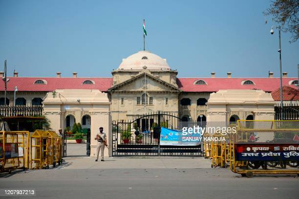 General view of deserted Allahabad High court is seen during a one-day Janata curfew imposed as a preventive measure against the COVID-19...