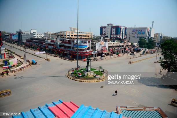 TOPSHOT A general view of deserted Subhash Chowk is seen during a oneday Janata curfew imposed as a preventive measure against the COVID19...