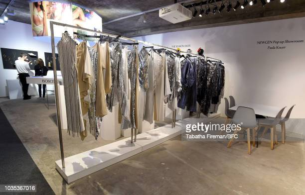 A general view of designs by Paula Knorr at the NEWGEN popup showroom during London Fashion Week September 2018 at the BFC Designer Showrooms on...