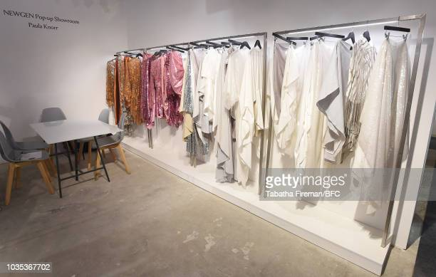 General view of designs by Paula Knorr at the NEWGEN pop-up showroom during London Fashion Week September 2018 at the BFC Designer Showrooms on...