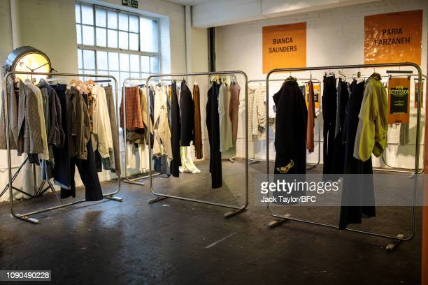 General view of designs by Per Götesson at the NEWGEN pop-up showroom during London Fashion Week Men's January 2019 at the BFC Designer Showrooms on...
