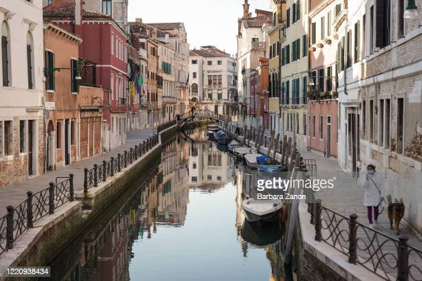 General view of desolate streets and canals in the historical center of Venice on March 16, 2020 in Venice, Italy. Italy will remain on lockdown...