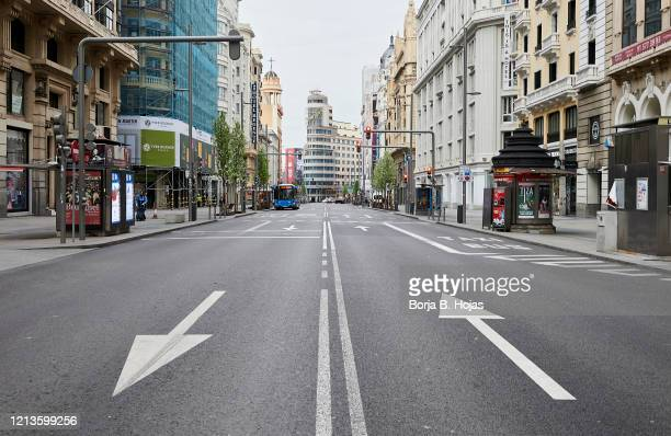 General view of desserted Gran Via street 5 days after the Government declared the state of alarm in Spain and recommended people to stay at home to...