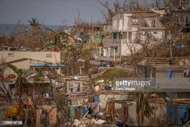 General view of destroyed houses by Hurricane Iota in the city center on November 21, 2020 in Providencia Island, Colombia. The islands of San...