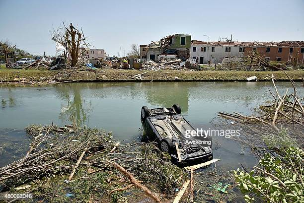 A general view of destruction after the tornado of last night on July 9 2015 in Venice Italy A tornado swept through the outskirts of Venice touching...