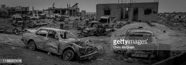 General view of destruction inside the final encampment held by ISIL on March 24, 2019 in Baghouz, Syria. The Kurdish-led and American-backed Syrian...