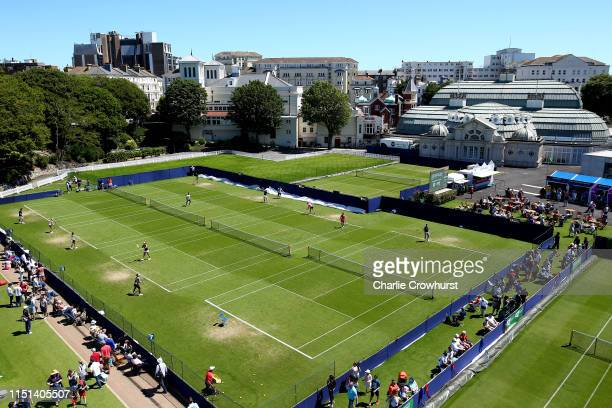 A general view of Devonshire Park during qualifying for the Nature Valley International at Devonshire Park on June 22 2019 in Eastbourne United...