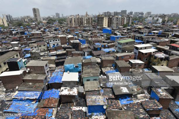 General view of Dharavi, a COVID-19 hotspot, on July 15, 2020 in Mumbai, India.