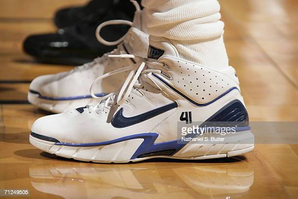 A general view of Dirk Nowitzki of the Dallas Mavericks' sneakers during Game Three of the 2006 NBA Finals June 13 2006 at American Airlines Arena in...