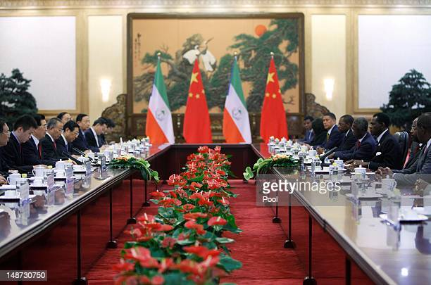 General view of discussion between President of Equatorial Guinea Teodoro Obiang Nguema Mbasogo and his Chinese counterpart Hu Jintao during the 5th...