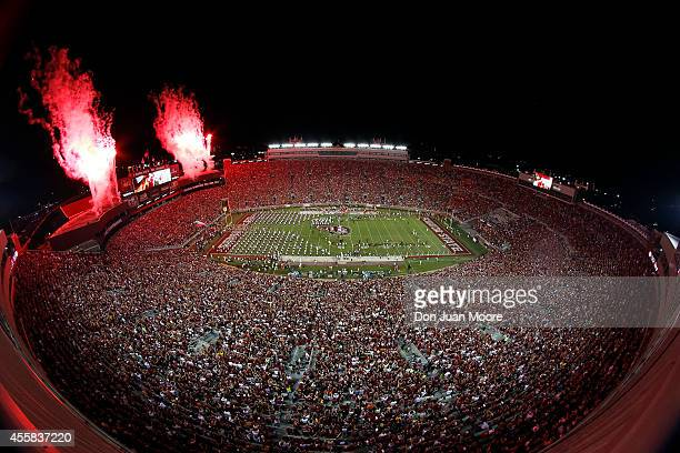 General view of Doak Campbell Stadium during a fireworks display in the pre-game with the Florida State Seminoles playing against the Clemson Tigers...