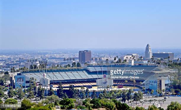 General view of Dodger Stadium before the game between the Miami Marlins and Los Angeles Dodgers on July 20 2019 in Los Angeles California