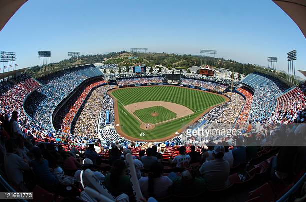 General view of Dodger Stadium during Los Angeles Dodgers game against the San Diego Padres in Los Angeles Calif on Wednesday June 29 2005