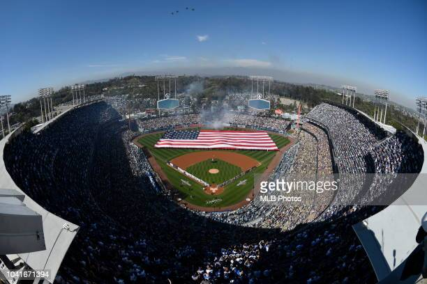 A general view of Dodger Stadium during the 2018 Opening Day game between the San Francisco Giants and Los Angeles Dodgers on Thursday March 29 2018...