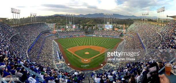 General view of Dodger Stadium during the game between the Los Angeles Dodgers and the Washington Nationals on April 21 2018 in Los Angeles California