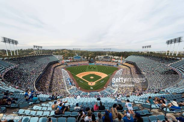 General view of Dodger Stadium during the MLB regular season baseball game between the San Diego Padres and the Los Angeles Dodgers on April 6 2017...